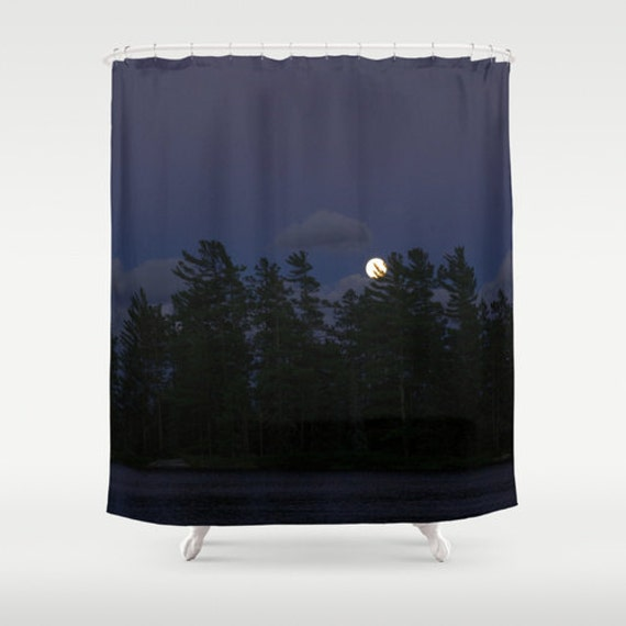Shower Curtain, Dark Colors, Navy Blue and Black, Moon Rise Photo, Boundary Waters, Lake Photography, Nature Images, Evergreen Trees