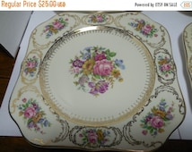 40% OFF SALE Continental Queens Bouquet Square Luncheon Plate, Queens Bouquet China, Vintage China Plates, Continental China, Art Deco China