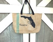 Tampa Love: Upcycled burlap tote with billboard lining