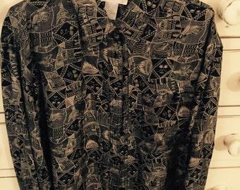 Vintage Silk Blouse Black Long Sleeve  Size 12