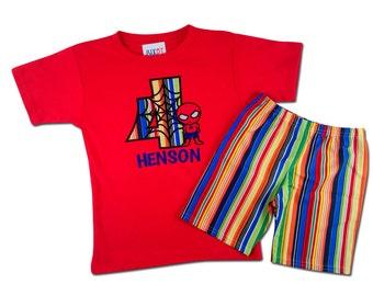 Superhero Birthday Shirt with Spider Kid and Matching Stripe Shorts