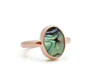 SUMMER SALE - Rose gold ring,abalone shell ring,abalone ring,rose gold oval ring,rose gold bezel ring,gemstone ring,shell ring