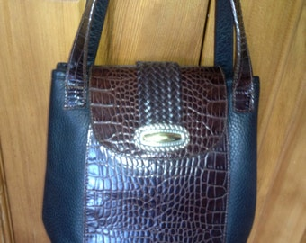 Vintage Brighton Black Brown leather embossed flap bucket purse 2 handles
