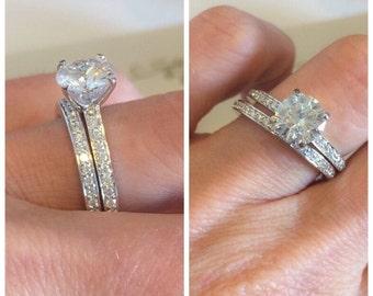 Forever One Moissanite Engagement Ring Set 1.50ct Round Moissanite Ring .45ctw Natural Diamonds Platinum Anniversary Pristine Custom Rings