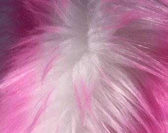 Pink/ off white cotton candy design shaggy faux fur / 2 tone super soft faux fur - yard