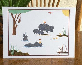 Hippo Card, African card, baby card, kids card, cut paper art, whimsical, african art, cute hippos, greeting card children