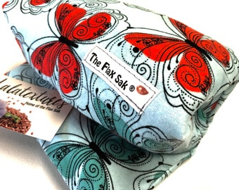 Microwave Flax HEATING PAD, hot cold pack, Butterfly flannel, Christmas gift ideas, Flannel washable covers, Fibromyalgia, Pain relief,