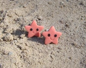 Coral Red Starfish Earrings Jewelry Funny Gift Idea for Girls Children Summer Holiday Sea Ocean Life Nautical Kawaii Stud Earrings Jewelry