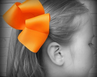 Orange Hair Bow, Orange Boutique Hair Bow, Orange Hair Clip, Boutique Hair Bow, Hairbows, School Hair Bow, Hair Bows for Babies, Orange Bow