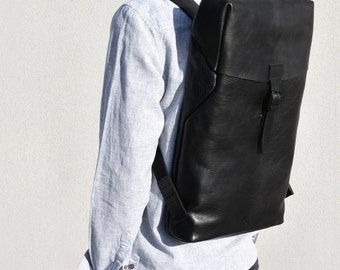 FREE Dhl fast shipping leather backpack padded wool felt laptop compartment black