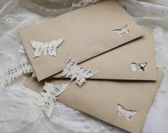 6x Vintage Sheet Music Butterfly Wedding Confetti Envelopes~Shabby Chic~Handmade~Rustic Biodegradable