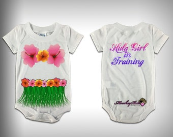 Monksies™ Custom Print One Piece Baby Body Suit  - Hula Girl in Training (with flowers)