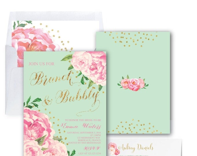 Mint and Pink Brunch and Bubbly Invitation // Peonies // Peony // Bridal Shower Invitation // Pink // Gold Glitter // BORDEAUX COLLECTION