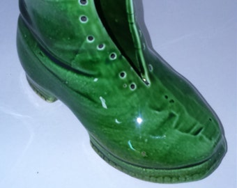 Vintage Old green lustre pottery boot.