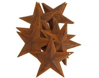Metal Rustic Stars Christmas Decor, Rust