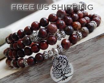 Poppy Jasper Mala, Bracelet, Necklace, 108 Prayer Beads, Yoga, Meditation, Crystal Healing, Base Chakra Necklace, Reiki infused