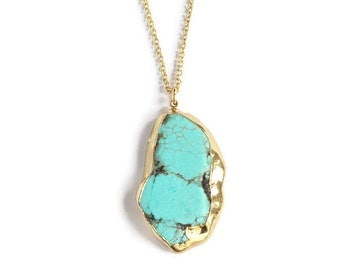 SALE Long Natural Turquoise Pendant Necklace Edged in 24K Gold