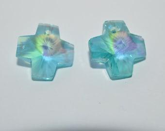 2 - Blue Zircon Crystal Cross Beads (2043096)