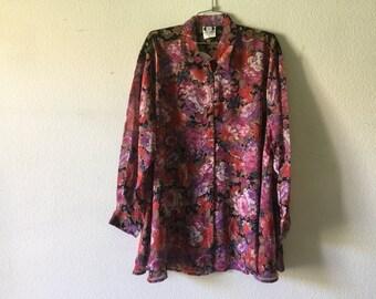 Vintage Blouse - Sheer Floral Print  Button Down Top