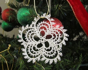 Tatted Lace Snowflake # 1; Christmas Tree Decoration, Lace Ornament, White Lace Decoration, Thirteenth Anniversary Gift