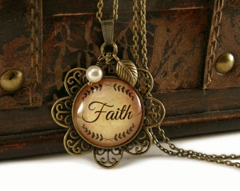 Faith Necklace, Vintage Necklace, Bronze, Steampunk Necklace, Inspirational, Necklace with Beads, Charms, Flower, Victorian, Religious,