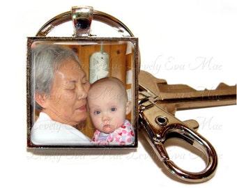 Personalized Keychain, Custom Photo Keychain, Photo Keychain, with Clip, Key Fob, Key Ring, Keyring, Square, Custom Photo, Personalized gift