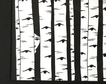 Limited Edition Silkscreen Illustration Print - Between the Birches