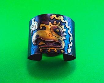 Mayan Aztec Copper Cuff Bracelet