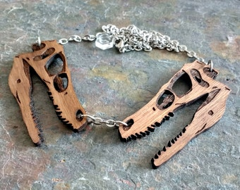 Dinosaur Skull Necklace - Laser cut wooden Velociraptor statement necklace