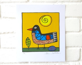 Bird with Sun - Screenprint