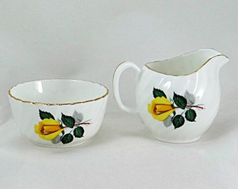 Yellow Roses Cream and Sugar Set Adderley China  Tea Accessories