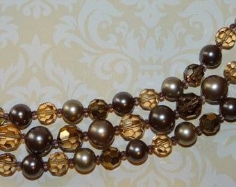 Marvella Faux Pearl and Crystal Bracelet 3 Strands Taupe Smoke Silver