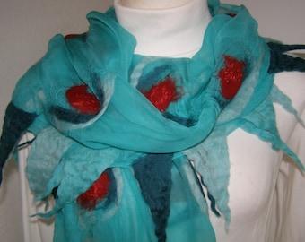 Nuno felt scarf turquoise, Chiffon silk scarf, silk felted in Nunotechnik, silk, merino wool, unique