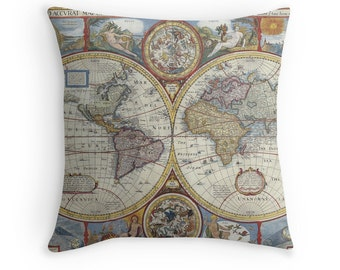 World Map Pillow, 1600s, Map Decor, Map of the World, Antique Maps, Antique Map Cushion, Retro Pillow, World Map Cushion, Vintage Decor
