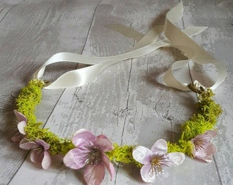 Photoprop halo fairytale/ woodland tieback 12m+ moss and flowers. Made to order.