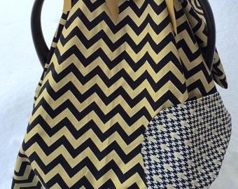 Reversible Black and gold, chevron cotton car seat canopy with two sets of ribbons