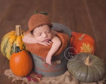 Newborn Pumpkin Hat, Baby, Natural Pumpkin Hat, Pumpkin Hat Photography Prop, Natural Fiber Pumpkin Beanie, Newborn Pumpkin Photography Prop
