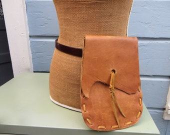 Vintage 1970s Tooled LEather  Handmade One of a Kind Belt Pouch Purse Fanny Pack