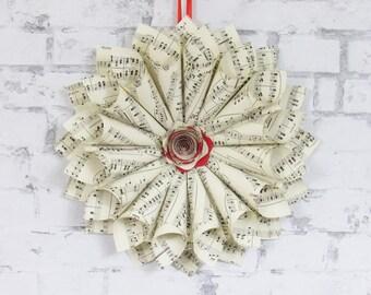 Paper Wreath - Sheet Music Wreath - Valentine's Day Decor - Gift for Music Teacher - Red Home Decor
