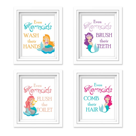 Mermaid bathroom decor girls bathroom even mermaids for Mermaid bathroom decor vintage