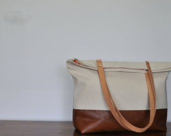 Natural Unbleached Canvas and Leather Tote Bag in Brown, Leather Handle Shoulder Bag, Red Dots