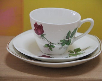 Midwinter Stylecraft Demitasse Cup and Saucer  in the Red Rose Pattern. 1950s with Johnson of Australia Side plate.