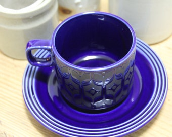 Vintage Retro 1970's Hornsea  Heirloom Blue Tea cup and saucer