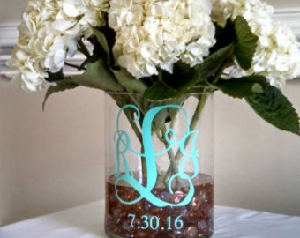Monogram with Date Decal - Wedding Decor - Home Decor - Important Date - DIY - Personalized Sticker - Vinyl Decal