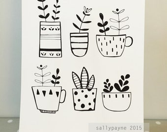 Digital Download A4 print  - black and white Illustrated 6 plant pots by Sally Payne