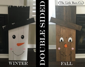 PRE-ORDER - LARGE Reversable Snowman & Scarecrow - Holiday Sign/Decor - Fall Sign/Decor - Christmas Sign/Decor - Ships end of August