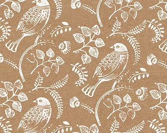 "Bird Print Wrapping Paper: Kraft Gift Wrap Sheet, with Handprinted Vintage Love Birds (70cm x 50cm / 19.5"" x 27.5"")"