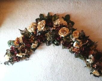 Floral Garland Swag, Elegant Tuscan Large Silk Floral Arrangement, Summer, Fall Peony, Rose Wall Arrangement, Over Door, Bedroom Floral