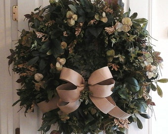 Winter  Wreath, XL Grapevine Wreath SHIPPING INCLUDED, French Country Burlap Greenery Wreath, Any Season Kitchen Wreath, Unique Wreath