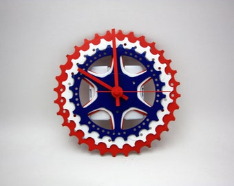 Red/White/Blue Bicycle Gear Clock